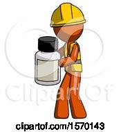 Orange Construction Worker Contractor Man Holding White Medicine Bottle