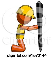 Orange Construction Worker Contractor Man Posing With Giant Pen In Powerful Yet Awkward Manner