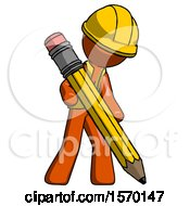 Orange Construction Worker Contractor Man Writing With Large Pencil