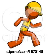 Orange Construction Worker Contractor Man Running Fast Right