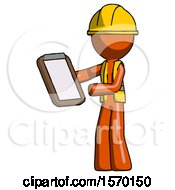 Orange Construction Worker Contractor Man Reviewing Stuff On Clipboard