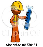 Orange Construction Worker Contractor Man Holding Large Test Tube