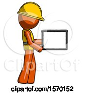 Orange Construction Worker Contractor Man Show Tablet Device Computer To Viewer Blank Area