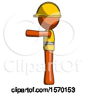 Orange Construction Worker Contractor Man Pointing Left