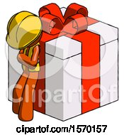 Orange Construction Worker Contractor Man Leaning On Gift With Red Bow Angle View