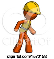 Orange Construction Worker Contractor Man Suspense Action Pose Facing Right