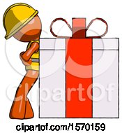 Orange Construction Worker Contractor Man Gift Concept Leaning Against Large Present