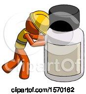 Orange Construction Worker Contractor Man Pushing Large Medicine Bottle