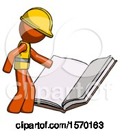 Orange Construction Worker Contractor Man Reading Big Book While Standing Beside It