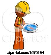 Orange Construction Worker Contractor Man Looking At Large Compass Facing Right