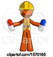 Orange Construction Worker Contractor Man Holding A Red Pill And Blue Pill
