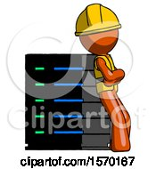 Orange Construction Worker Contractor Man Resting Against Server Rack Viewed At Angle