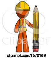 Orange Construction Worker Contractor Man With Large Pencil Standing Ready To Write