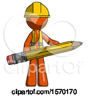 Orange Construction Worker Contractor Man Writer Or Blogger Holding Large Pencil