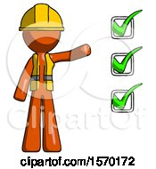 Orange Construction Worker Contractor Man Standing By List Of Checkmarks