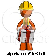 Orange Construction Worker Contractor Man Gifting Present With Large Bow Front View