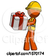 Orange Construction Worker Contractor Man Presenting A Present With Large Red Bow On It
