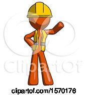 Orange Construction Worker Contractor Man Waving Left Arm With Hand On Hip