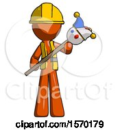 Orange Construction Worker Contractor Man Holding Jester Diagonally