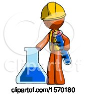Orange Construction Worker Contractor Man Holding Test Tube Beside Beaker Or Flask