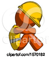 Orange Construction Worker Contractor Man Sitting With Head Down Facing Sideways Right