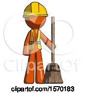 Orange Construction Worker Contractor Man Standing With Broom Cleaning Services