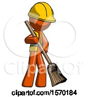 Orange Construction Worker Contractor Man Sweeping Area With Broom