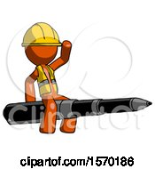 Orange Construction Worker Contractor Man Riding A Pen Like A Giant Rocket