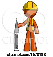 Orange Construction Worker Contractor Man Standing With Large Thermometer