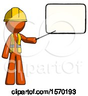 Orange Construction Worker Contractor Man Giving Presentation In Front Of Dry Erase Board