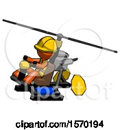 Orange Construction Worker Contractor Man Flying In Gyrocopter Front Side Angle Top View