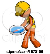 Orange Construction Worker Contractor Man Walking With Large Compass