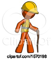 Orange Construction Worker Contractor Man Walking With Hiking Stick