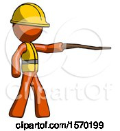 Orange Construction Worker Contractor Man Pointing With Hiking Stick