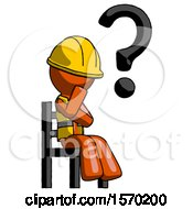 Orange Construction Worker Contractor Man Question Mark Concept Sitting On Chair Thinking
