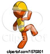 Orange Construction Worker Contractor Man Kick Pose Start