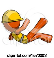 Orange Construction Worker Contractor Man Falling Backwards