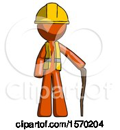 Orange Construction Worker Contractor Man Standing With Hiking Stick