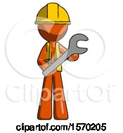 Orange Construction Worker Contractor Man Holding Large Wrench With Both Hands