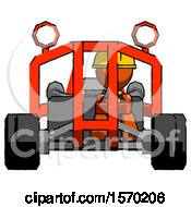 Orange Construction Worker Contractor Man Riding Sports Buggy Front View
