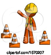 Orange Construction Worker Contractor Man Standing By Traffic Cones Waving