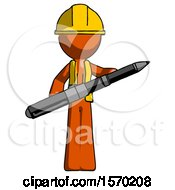Orange Construction Worker Contractor Man Posing Confidently With Giant Pen