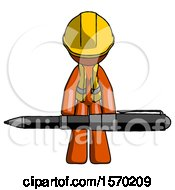 Orange Construction Worker Contractor Man Weightlifting A Giant Pen