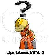 Orange Construction Worker Contractor Man Thinker Question Mark Concept