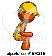 Orange Construction Worker Contractor Man Squatting Facing Right