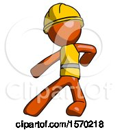 Orange Construction Worker Contractor Man Karate Defense Pose Left