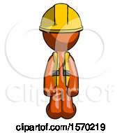 Orange Construction Worker Contractor Man Kneeling Front Pose