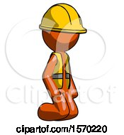 Orange Construction Worker Contractor Man Kneeling Angle View Right