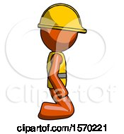 Orange Construction Worker Contractor Man Kneeling Right