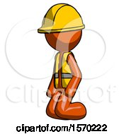 Orange Construction Worker Contractor Man Kneeling Angle View Left